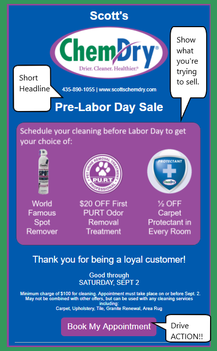 Scott's Labor Day Sale Example